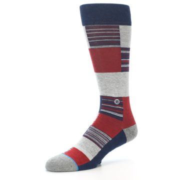Image of Navy Red Grey Block Stripe Men's Casual Socks (side-2-09)