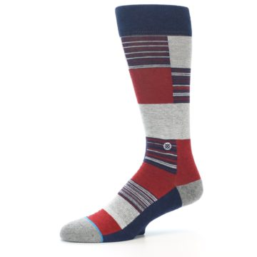 Image of Navy Red Grey Block Stripe Men's Casual Socks (side-2-10)
