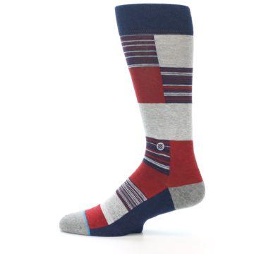 Image of Navy Red Grey Block Stripe Men's Casual Socks (side-2-12)