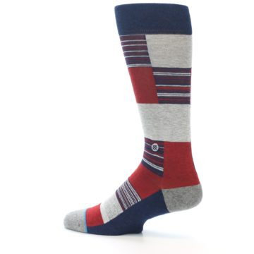 Image of Navy Red Grey Block Stripe Men's Casual Socks (side-2-13)