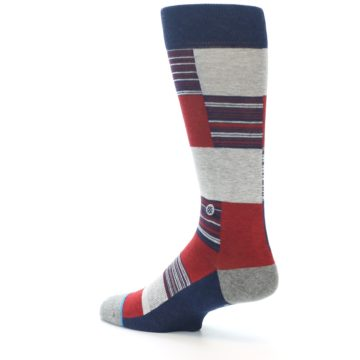 Image of Navy Red Grey Block Stripe Men's Casual Socks (side-2-back-14)