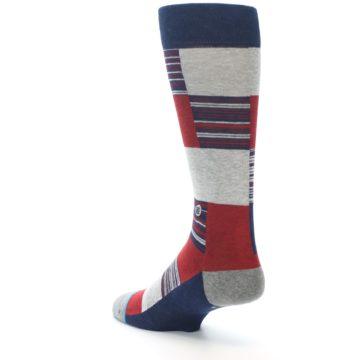 Image of Navy Red Grey Block Stripe Men's Casual Socks (side-2-back-15)