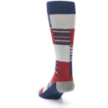 Image of Navy Red Grey Block Stripe Men's Casual Socks (side-2-back-16)