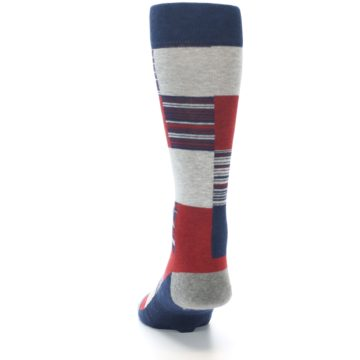 Image of Navy Red Grey Block Stripe Men's Casual Socks (back-17)