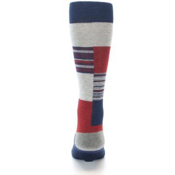 Image of Navy Red Grey Block Stripe Men's Casual Socks (back-18)