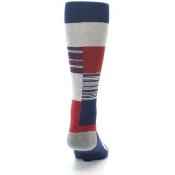 Image of Navy Red Grey Block Stripe Men's Casual Socks (back-19)