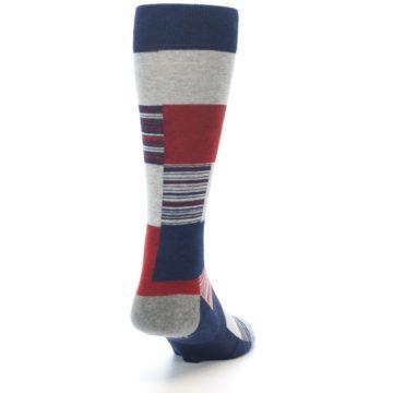 Image of Navy Red Grey Block Stripe Men's Casual Socks (side-1-back-20)