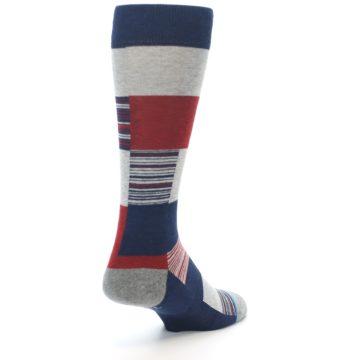 Image of Navy Red Grey Block Stripe Men's Casual Socks (side-1-back-21)