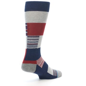 Image of Navy Red Grey Block Stripe Men's Casual Socks (side-1-back-22)