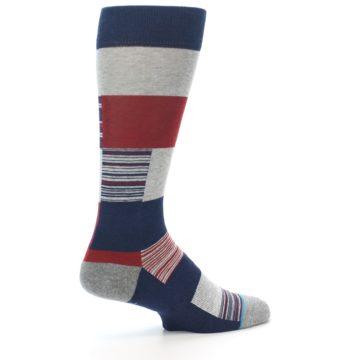 Image of Navy Red Grey Block Stripe Men's Casual Socks (side-1-23)