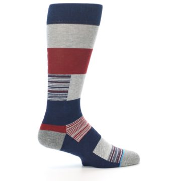 Image of Navy Red Grey Block Stripe Men's Casual Socks (side-1-24)