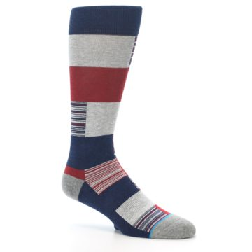 Image of Navy Red Grey Block Stripe Men's Casual Socks (side-1-26)