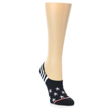 Image of Black White Stars Women's No-Show Socks (side-1-front-01)