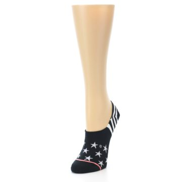 Image of Black White Stars Women's No-Show Socks (side-2-front-07)