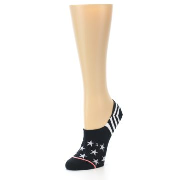 Image of Black White Stars Women's No-Show Socks (side-2-front-08)