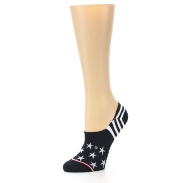 Image of Black White Stars Women's No-Show Socks (side-2-09)