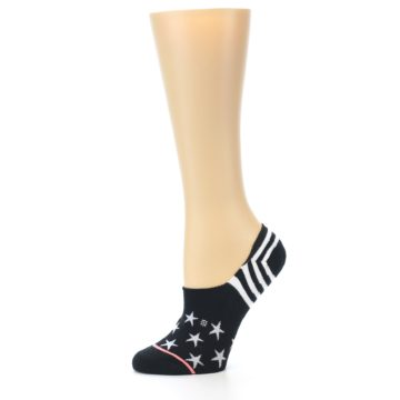 Image of Black White Stars Women's No-Show Socks (side-2-10)