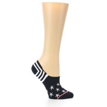 Image of Black White Stars Women's No-Show Socks (side-1-25)