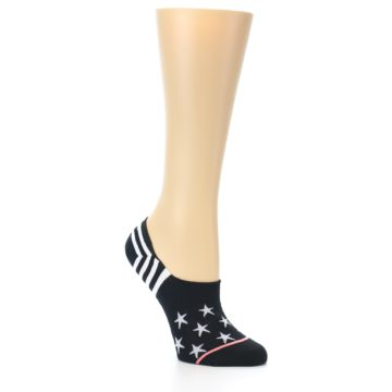 Image of Black White Stars Women's No-Show Socks (side-1-26)