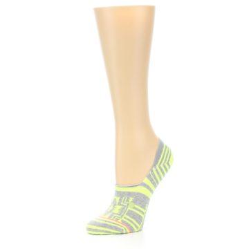 Image of Neon Grey Patterned Women's No-Show Socks (side-2-09)
