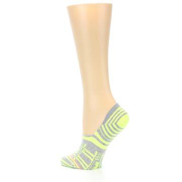 Image of Neon Grey Patterned Women's No-Show Socks (side-2-13)