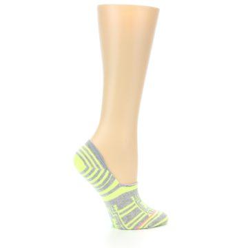 Image of Neon Grey Patterned Women's No-Show Socks (side-1-24)