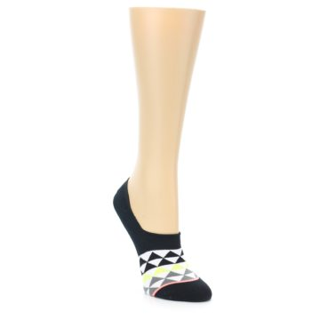Image of Black White Triangles Women's No-Show Socks (side-1-front-01)
