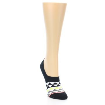 Image of Black White Triangles Women's No-Show Socks (side-1-front-02)