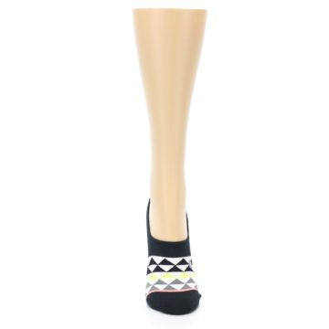 Image of Black White Triangles Women's No-Show Socks (front-04)