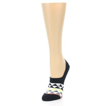 Image of Black White Triangles Women's No-Show Socks (side-2-front-07)