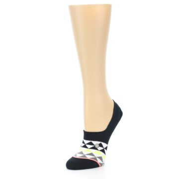 Image of Black White Triangles Women's No-Show Socks (side-2-front-08)