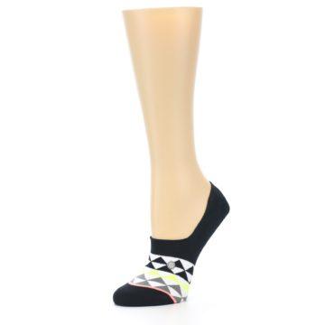 Image of Black White Triangles Women's No-Show Socks (side-2-09)