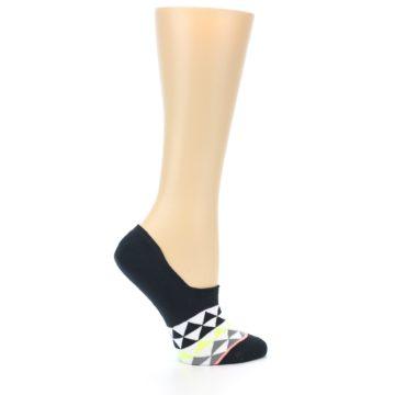 Image of Black White Triangles Women's No-Show Socks (side-1-24)
