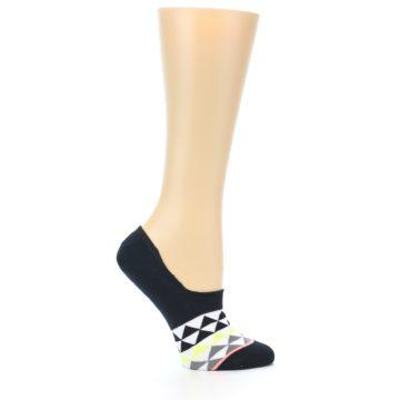 Image of Black White Triangles Women's No-Show Socks (side-1-25)