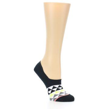 Image of Black White Triangles Women's No-Show Socks (side-1-26)