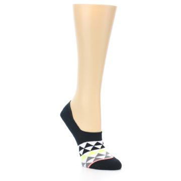 Image of Black White Triangles Women's No-Show Socks (side-1-27)