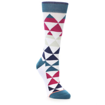 Image of White Pink Blue Triangles Women's Casual Sock (side-1-front-01)