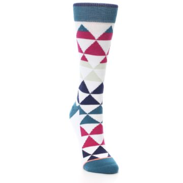 Image of White Pink Blue Triangles Women's Casual Sock (side-1-front-02)