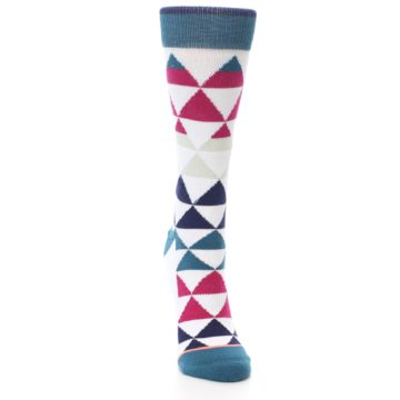 Image of White Pink Blue Triangles Women's Casual Sock (side-1-front-03)