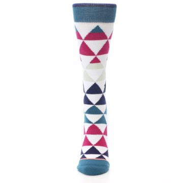 Image of White Pink Blue Triangles Women's Casual Sock (front-05)