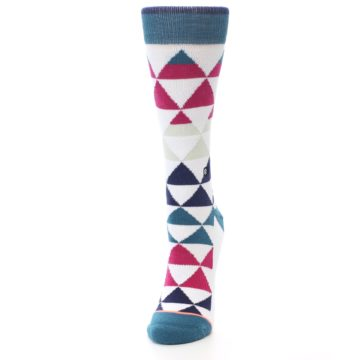 Image of White Pink Blue Triangles Women's Casual Sock (side-2-front-06)