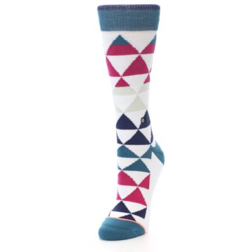 Image of White Pink Blue Triangles Women's Casual Sock (side-2-front-07)
