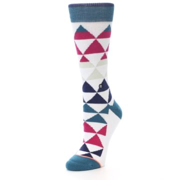Image of White Pink Blue Triangles Women's Casual Sock (side-2-front-08)