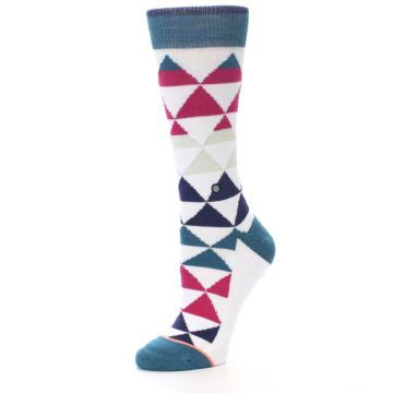 Image of White Pink Blue Triangles Women's Casual Sock (side-2-09)