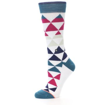 Image of White Pink Blue Triangles Women's Casual Sock (side-2-10)