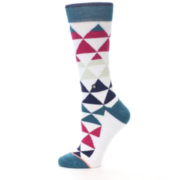Image of White Pink Blue Triangles Women's Casual Sock (side-2-11)