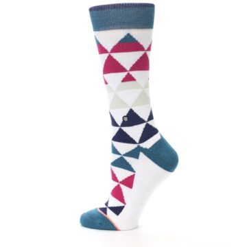 Image of White Pink Blue Triangles Women's Casual Sock (side-2-12)