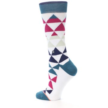 Image of White Pink Blue Triangles Women's Casual Sock (side-2-13)