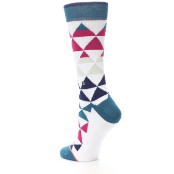 Image of White Pink Blue Triangles Women's Casual Sock (side-2-back-14)
