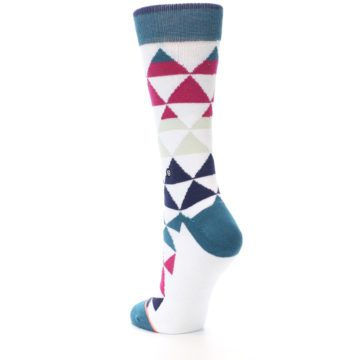 Image of White Pink Blue Triangles Women's Casual Sock (side-2-back-15)